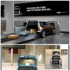 Some Guerrilla Marketing Stunts at #Airport | #baggageclaim #trunks #pickup #creative #viral #guerillamarketing #guerilla #btl #ambient < repinned by www.BlickeDeeler.de | Take a look on www.GuerillaMarketing-Hamburg.de
