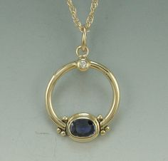 14k Yellow Gold Pendant with Blue Sapphire by DenimAndDiaJewelry,