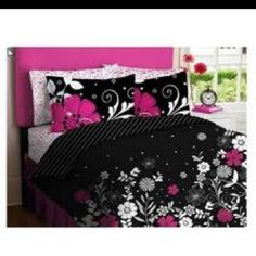 Pink Black Teen Girls Queen Comforter Sheet Set Piece Bed In A Bag) - Product Description: Update your bedroom or dorm room with this Black & Pink Teen Be Teen Girl Comforters, Teen Bedding, Pink Bedding, Pink Headboard, Nursery Bedding, Luxury Bedding, Bedroom Black, Girls Bedroom, Bedroom Ideas