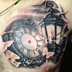 Wonderful Clock And Lamp Tattoos On Chest