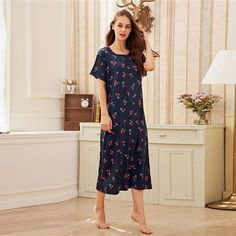 Women's Polyester O-Neck Sleepwear With Print | ZORKET | Material: COTTON, Polyester • Dresses Length: Mid-Calf • Decoration: NONE • Obscene Picture: No • Material: 5% Cotton, 95% Polyester • Type: Print