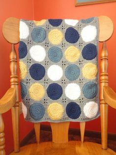 Mod Dot Crochet Baby Blanket Neutral/Boy Navy Country by LorasLoft, $70.00