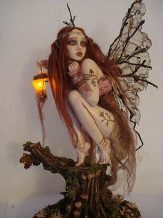 SHADOWSCULPT OOAK FAIRY custom made commission order with lamp light up forest woodland fantasy polymer clay figurine  $396.01