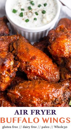 Crispy on the outside and tender on the inside you won't believe these air fryer chicken wings aren't deep fried! - Eat the Gains Paleo Recipes Easy, Whole 30 Recipes, Real Food Recipes, Cooking Recipes, Paleo Menu, Ninja Recipes, Clean Recipes, Paleo Diet, Air Fryer Chicken Wings