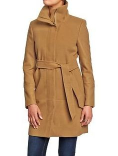 Women's Long Belted Coat / Color: Llama | OLD NAVY