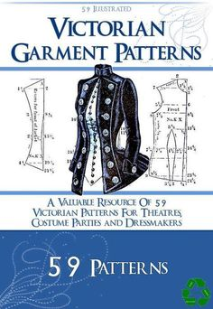 59 Victorian Dress Sewing Patterns Design your from HowToBooks - Nähen - Anna gift Costume Patterns, Dress Sewing Patterns, Clothing Patterns, Boho Pattern, Pattern Design, Sewing Clothes, Diy Clothes, Ladies Clothes, Modelista