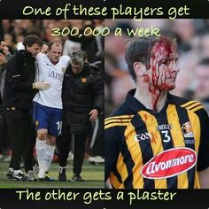 The difference between football (soccer) and hurling (GAA)
