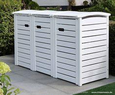 Mülltonnenschrank - Mülltonnenverkleidung - Mülltonnenbox für 3 x 120 Liter Abfalltonnen. Auch als 3 x 240 Liter Mülltonnenverkleidung lieferbar. Die Mülltonnenverkleidung CLASSIC ist in Natur, Natur geölt, Weiß, Anthrazit, Grün, Blau oder Rot erhältlich. Das FSC Eukalyptus Hartholz ist aufwendig in Tischlerqualität verarbeitet. Die Premium Mülltonnenverkleidung mit komplettem Edelstahl-Zubehör. Mehr Info auch als Video   -  http://youtu.be/Og8p5mmunEc