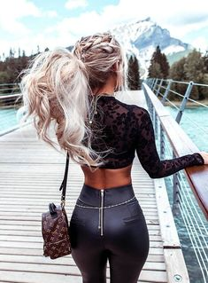 Black Sexy Women Leggings Thin Faux Leather Stretchy Back Zipper High Waist Trousers Bodycon PU Pants Female Leggings Ladies Blondes Sexy, Look Girl, Elegantes Outfit, Looks Black, Fashion Outfits, Womens Fashion, Latest Fashion, Fashion Ideas, Fashion Beauty