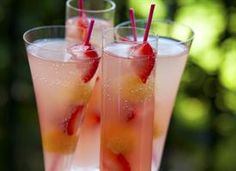 """Coconut Champagne Punch Perfect, refreshing light small-batch summer punch! Keep the """"punch"""" in your punch with a frozen fruit skewer .. mmm perfect for summer time!"""