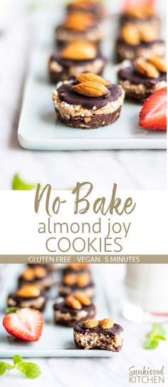 No Bake Almond Joy Cookies / These 5 ingredient cookies are the perfect solution to your chocolate cravings! A healthier no bake cookie option. | SUNKISSEDKITCHEN.COM | #nobakecookie #almondjoy #cookies #healthycookies #cleaneating #glutenfree #almondjoycookies