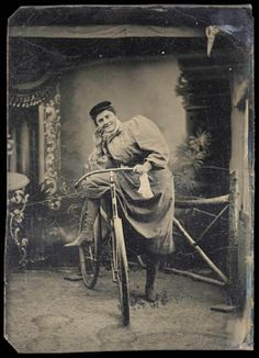 Tintype, 1890s. Cyclists posed with their wheels as a sign of modernity and independence. Women used bicycles to travel alone, perhaps for the first time ever, and farther from home. #WomensHistoryMonth #ObjectProject #Photography