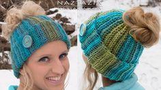 How To Crochet a Ponytail Hat (aka Messy Bun Beanie) – Video Tutorial by Donna Wolfe of Naztazia #crochet #messybun