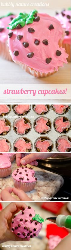 Strawberry Cupcakes ~ Perfect for a strawberry shortcake themed birthday party, Valentine's day, any summer party... Follow Amanda Sammy for more pins!