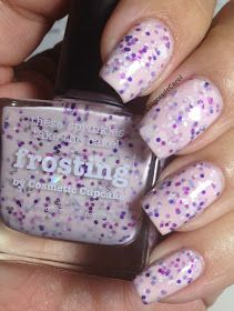 ★ Frosting ★ from Picture Polish, a delicate pastel pink milky base with silver, magenta and purple glitters and silver hearts