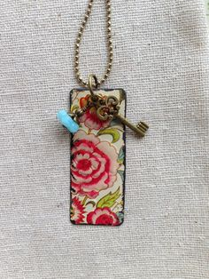 Tin Jewelry Tag Necklace Flowerful Tin for the Ten by TheMadCutter