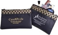 Custom imprinted designer makeup pouch with your logo imprinted on the front makes a perfect and elegant promo gift. #FemmePromo #Privatelabelcosmeticbags #Promotionalcosmeticbags