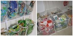 scrap fabric storage - shoe organizers