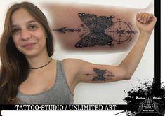 Black & Grey / Geometric Butterfly Tattoo (Schmetterling mit Geometrik)