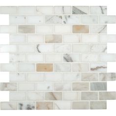 "MS International Calacatta Gold Mounted 2"" x 1"" Marble Mesh Polished Mosaic in White"