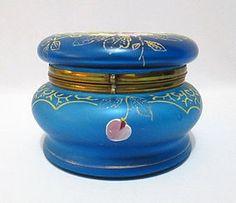 Moser Enameled Glass Dresser Box. #antique #vintage #box