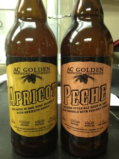 AC Golden's Apricot and Peche. Both aged in oak wine barrels, some tartness, and Brett yeast character. The peach one silver in American Style Brett at 2012 World Beer Cup.