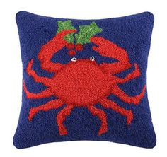 Crab Holding Holly Hook Pillow from Coastal Style