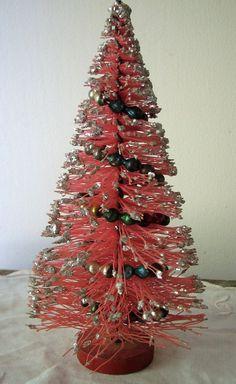 Vintage Pink Bottle Brush Tree Glass Bead Garland Glass Glitter