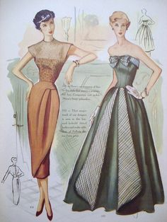 Modes Royale vintage fashion color illustration print ad tan cocktail dress brown rayon illusion formal evening gown black green grey strapless full skirt 40s 50s