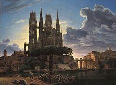 Cathedral Towering over a Town (1813) - Karl Friedrich Schinkel - oil on canvas - Neue Pinakothek Munich, Germany