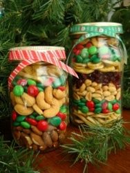 Christmas Treat Jar --- Glue a fishing Lure on top of lid for a fishing theme --- and fill w/ munchie ---