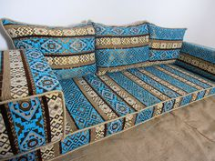 floor seating,floor cushions,arabic seating,arabic cushions,floor sofa,oriental seating,furniture,majlis,jalsa,floor couch,arabic couch - MA 16. TRADITIONAL MIDDLE EASTERN ORIENTAL FLOOR SEATING SOFA Perfect for furnishing and decorating homes, hookah bars, hotels, cafeterias, etc. This handmade authentic Middle Eastern floor sofa will certainly add an element and mystic to any room or space. Our versatile floor sofa sets make the perfect finishing touch, wherever you may wish to use them...