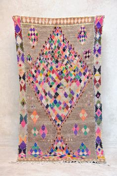 SUMMER FESTIVALS 7'5 x 3'10 Boucherouite Rug. Tapis by pinkrugco