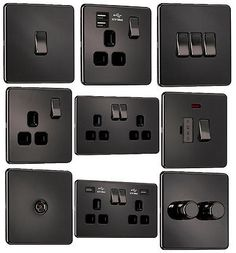 EXCLUSIVE PROMOTION - Screwless Flatplate Light Switches & Sockets Black Nickel[2 Gang Socket with Dual USB Charger]