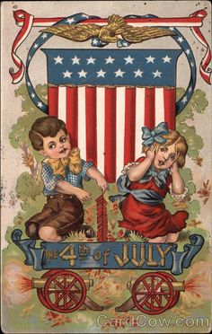 Fourth of July 4th of July. Great site for vintage postcards and images. In love!