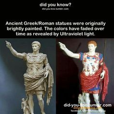 UV light reveals how ancient Roman statues really looked.- Seriously, this statue is Roman, not Greek. Ignore the title article. Ancient Rome, Ancient History, Art History, Ancient Greece Facts, Statue Antique, Rome Antique, Greek Statues, Empire Romain, Roman Art