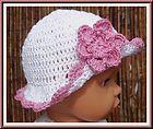 ANY SIZE BABY GIRLS CROCHET WHITE VINTAGE SUN HAT