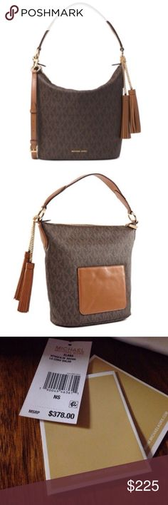 Offer $200- Like New Michael Kors Elana 2 Way Bag Large convertible shoulder elana bag by Michael Kors. Used for a two days- no visible wear. Excellent, like new condition. Still has the tags and dust bag MICHAEL Michael Kors Bags Shoulder Bags