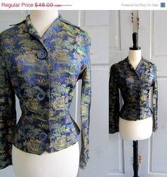 SALE Vintage Asian Jacket 1960s Silk Asian by SassySisterVintage, $38.40