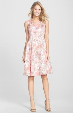 Free shipping and returns on Adrianna Papell Jacquard V-Neck Fit & Flare Dress at Nordstrom.com. Soft, dappled jacquard is shaped into a timeless V-neck day dress cut with a sleeveless bodice and a charming flared skirt.