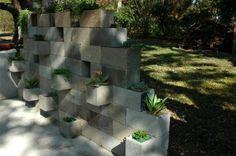 modern stone garden wall of stone
