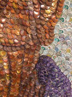 Bottle cap mosaic portrait
