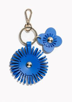 & Other Stories Leather Flower Keyring  in Blue