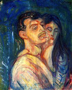 Edvard Munch - Head by Head, 1905. Expressionism.