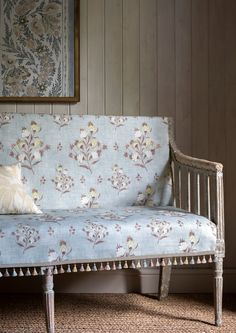 Hindi Rose fabric features a floral design in blue & pink. Designer fabrics by Lewis & Wood, buy it today at F&P online. Pastel Colour Palette, Cottage Style Homes, Soft Furnishings, Home Accessories, Upholstery, House Design, Inspiration, Interior Design, Wood