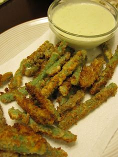 Deep Fried Green Beans with Cucumber Wasabi Sauce - by Mmm...Cafe. The Wasabi Dipping Sauce is Incredible!!!
