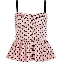River Island Pink polka dot corset peplum top ($16) ❤ liked on Polyvore featuring tops, shirts, tank tops, blusas, corsets, peplum tops, polka dot top, peplum shirt, pink top and button front shirt