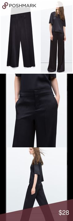 """Zara Black Loose Fit Trousers Great condition, rise is 10 1/2"""" inseam 33 1/4"""". 100% polyester. No trades, no pp. loose fit, false rear pocket. Zara Pants Trousers"""