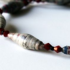 This is a cool do it yourself bead necklace out of newspaper of magazines.