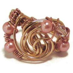 Copper wire ring with pearls by MiSuenos on Etsy, $7.50